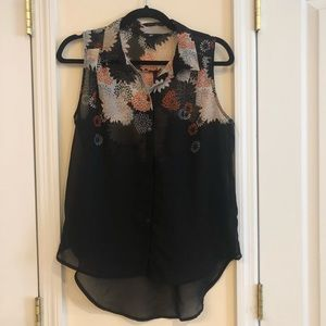 H&M Sheer Black Printed Button Up Top